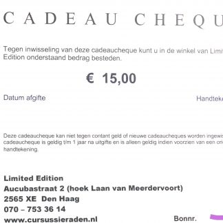 De cadeaubon is te koop op onze website en is te besteden in kralenwinkel Limited Edition in Den Haag.