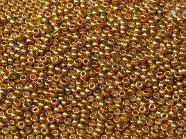 De rocaille seed bead van het Japanse merk Miyuki is te koop bij kralenwinkel Limited Edition in Den Haag in de maat 15-4202 Duracoat Galvanized Gold.