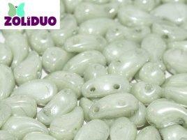 De zoliduo is een glaskraal die veel in patronen van sieraden gebruikt word en is te koop bij kralenwinkel Limited Edition in Den Haag in de maat 02010-14457 Alabaster Mint Luster.