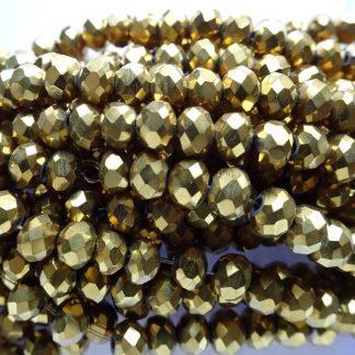 Deze facet geslepen rondelle kralen in de maat 4x3mm zijn te koop per streng bij kralenwinkel Limited Edition in Den Haag in de kleur Gold plated.
