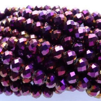 Deze facet geslepen rondelle kralen in de maat 4x3mm zijn te koop per streng bij kralenwinkel Limited Edition in Den Haag in de kleur Purple plated.