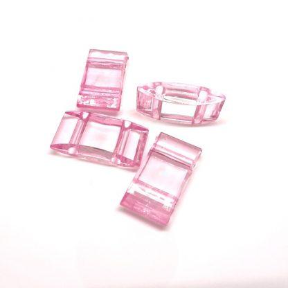Deze acryl kralen verdeler is te vergelijken met de Duitse tragerperlen en is te koop bij kralenwinkel Limited Edition in de kleur licht roze.
