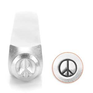 Met deze 3mm stempel van ImpressArt kun je heel makkelijk een figuur in leer of metaal slaan en is te koop bij kralenwinkel Limited Edition in de vorm van een peace sign.