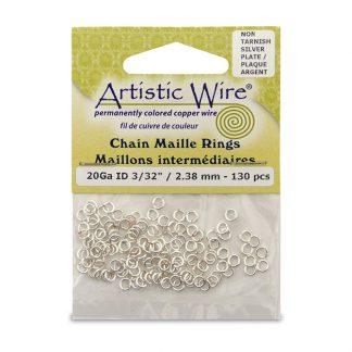 Met de Chain Maille ringetjes van Artistic Wire kunnen de mooiste projecten met ringetjes gemaakt worden en is te koop bij kralenwinkel Limited Edition in de kleur zilver in de maat 20 gauge 2.38mm.