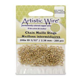 Met de Chain Maille ringetjes van Artistic Wire kunnen de mooiste projecten met ringetjes gemaakt worden en is te koop bij kralenwinkel Limited Edition in de kleur brass in de maat 20 gauge 2.38mm.