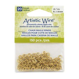 Met de Chain Maille ringetjes van Artistic Wire kunnen de mooiste projecten met ringetjes gemaakt worden en is te koop bij kralenwinkel Limited Edition in de kleur brass in de maat 20 gauge 3.18mm.