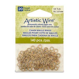 Met de Chain Maille ringetjes van Artistic Wire kunnen de mooiste projecten met ringetjes gemaakt worden en is te koop bij kralenwinkel Limited Edition in de kleur brass in de maat 20 gauge 3.57mm.