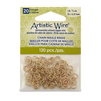 Met de Chain Maille ringetjes van Artistic Wire kunnen de mooiste projecten met ringetjes gemaakt worden en is te koop bij kralenwinkel Limited Edition in de kleur brass in de maat 20 gauge 4.37mm.