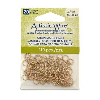 Met de Chain Maille ringetjes van Artistic Wire kunnen de mooiste projecten met ringetjes gemaakt worden en is te koop bij kralenwinkel Limited Edition in de kleur brass in de maat 20 gauge 4.76mm.