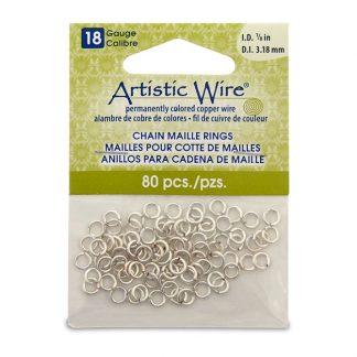 Met de Chain Maille ringetjes van Artistic Wire kunnen de mooiste projecten met ringetjes gemaakt worden en is te koop bij kralenwinkel Limited Edition in de kleur zilver in de maat 18 gauge 3.18mm.