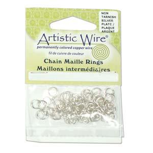 Met de Chain Maille ringetjes van Artistic Wire kunnen de mooiste projecten met ringetjes gemaakt worden en is te koop bij kralenwinkel Limited Edition in de kleur zilver in de maat 18 gauge 3.57mm.