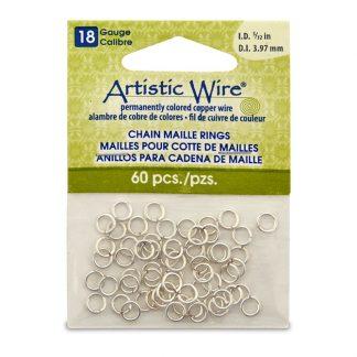 Met de Chain Maille ringetjes van Artistic Wire kunnen de mooiste projecten met ringetjes gemaakt worden en is te koop bij kralenwinkel Limited Edition in de kleur zilver in de maat 18 gauge 3.97mm.