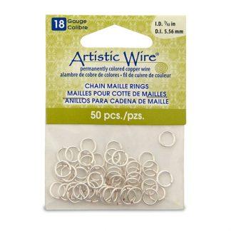 Met de Chain Maille ringetjes van Artistic Wire kunnen de mooiste projecten met ringetjes gemaakt worden en is te koop bij kralenwinkel Limited Edition in de kleur zilver in de maat 18 gauge 5.56mm.