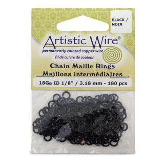 Met de Chain Maille ringetjes van Artistic Wire kunnen de mooiste projecten met ringetjes gemaakt worden en is te koop bij kralenwinkel Limited Edition in de kleur black in de maat 18 gauge 3.18mm.