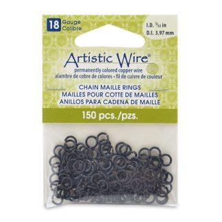 Met de Chain Maille ringetjes van Artistic Wire kunnen de mooiste projecten met ringetjes gemaakt worden en is te koop bij kralenwinkel Limited Edition in de kleur black in de maat 18 gauge 3.97mm.