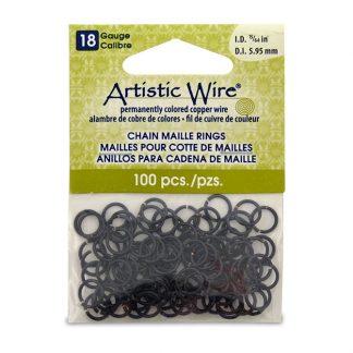 Met de Chain Maille ringetjes van Artistic Wire kunnen de mooiste projecten met ringetjes gemaakt worden en is te koop bij kralenwinkel Limited Edition in de kleur black in de maat 18 gauge 5.95mm.