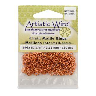 Met de Chain Maille ringetjes van Artistic Wire kunnen de mooiste projecten met ringetjes gemaakt worden en is te koop bij kralenwinkel Limited Edition in de kleur natural in de maat 18 gauge 3.18mm.
