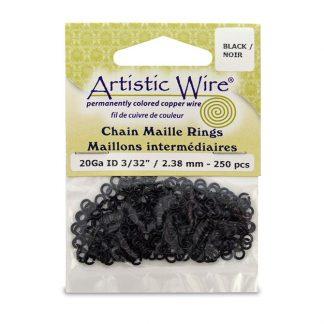 Met de Chain Maille ringetjes van Artistic Wire kunnen de mooiste projecten met ringetjes gemaakt worden en is te koop bij kralenwinkel Limited Edition in de kleur black in de maat 20 gauge 2.38mm.
