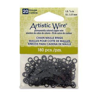 Met de Chain Maille ringetjes van Artistic Wire kunnen de mooiste projecten met ringetjes gemaakt worden en is te koop bij kralenwinkel Limited Edition in de kleur black in de maat 20 gauge 3.57mm.