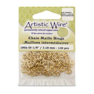 Met de Chain Maille ringetjes van Artistic Wire kunnen de mooiste projecten met ringetjes gemaakt worden en is te koop bij kralenwinkel Limited Edition in de kleur brass in de maat 18 gauge 2.38mm.