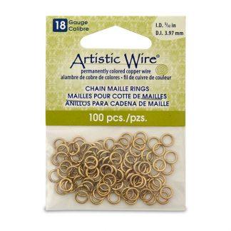Met de Chain Maille ringetjes van Artistic Wire kunnen de mooiste projecten met ringetjes gemaakt worden en is te koop bij kralenwinkel Limited Edition in de kleur brass in de maat 18 gauge 3.97mm.