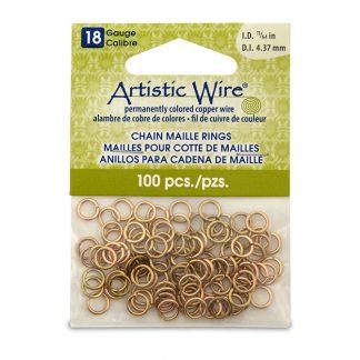 Met de Chain Maille ringetjes van Artistic Wire kunnen de mooiste projecten met ringetjes gemaakt worden en is te koop bij kralenwinkel Limited Edition in de kleur brass in de maat 18 gauge 4.37mm.