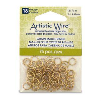 Met de Chain Maille ringetjes van Artistic Wire kunnen de mooiste projecten met ringetjes gemaakt worden en is te koop bij kralenwinkel Limited Edition in de kleur brass in de maat 18 gauge 5.56mm.