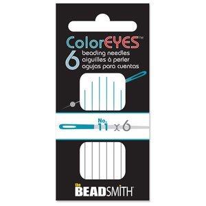 Doordat iedere naald van Coloreyes dezelfde kleur oog per maat heeft zijn ze heel makkelijk uit elkaar te houden en zijn te koop bij kralenwinkel Limited Edition in Den Haag in de maat #11.