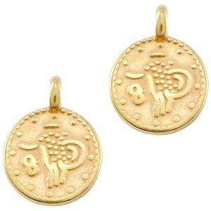 Deze bedel in de vorm van een muntje van designer quality is te koop bij kralenwinkel Limited Edition in Den Haag in de kleur goud.
