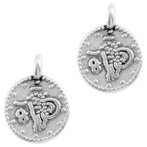 Deze bedel in de vorm van een muntje van designer quality is te koop bij kralenwinkel Limited Edition in Den Haag in de kleur antiek zilver.