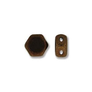 De Honeycomb is een zeshoekige kraal met twee gaten die leuk te gebruiken is in patroontjes en is te koop bij kralenwinkel Limited Edition in Den Haag in de kleur 23980-14415.