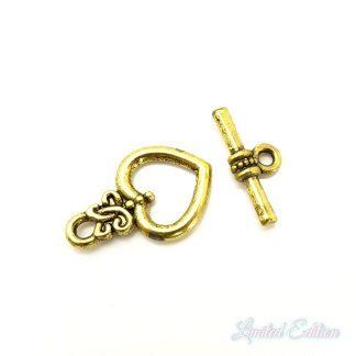 Dit kapittel slot met hartvorm is te koop bij kralenwinkel Limited Edition in Den Haag in de kleur goud.