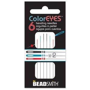 Doordat iedere naald van Coloreyes dezelfde kleur oog per maat heeft zijn ze heel makkelijk uit elkaar te houden en zijn te koop bij kralenwinkel Limited Edition in Den Haag in de maat #10-#12.
