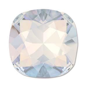 Deze vierkante swarovksi steen is te koop bij kralenwinkel Limited Edition in de kleur White Opal Foiled.