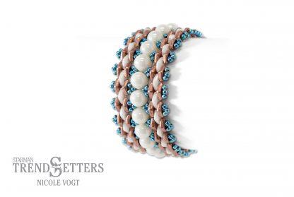 Het gratis rijgpatroon 'Diamond Dance Bracelet' is te vinden bij kralenwinkel Limited Edition in Den Haag.