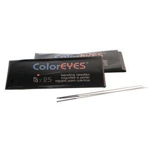 Doordat iedere naald van Coloreyes dezelfde kleur oog per maat heeft zijn ze heel makkelijk uit elkaar te houden en zijn te koop bij kralenwinkel Limited Edition in Den Haag in de maat #10.