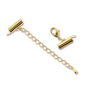 Met deze eindkap buisjes met verlengketting en slotje is het heel eenvoudig om weef armbandjes af te werken en zijn te koop bij kralenwinkel Limited Edition in Den Haag in de maat 13mm Gold plated.