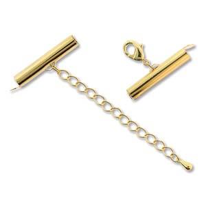 Met deze eindkap buisjes met verlengketting en slotje is het heel eenvoudig om weef armbandjes af te werken en zijn te koop bij kralenwinkel Limited Edition in Den Haag in de maat 25mm Gold plated.