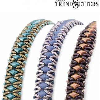 Het gratis rijgpatroon 'Insignia Bracelet' is te vinden bij kralenwinkel Limited Edition in Den Haag.
