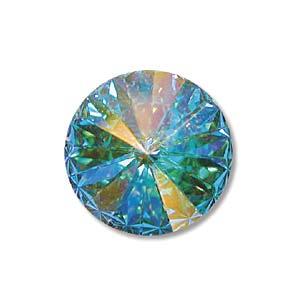 Deze ronde Rivoli steen van Swarovski heeft een puntige achterkant en is te koop bij kralenwinkel Limited Edition in Den Haag in de maat 14mm in de kleur Crystal AB Foiled.