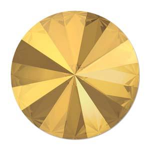 Deze ronde Rivoli steen van Swarovski heeft een puntige achterkant en is te koop bij kralenwinkel Limited Edition in Den Haag in de maat 14mm in de kleur Crystal Metallic Sunshine Foiled.