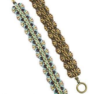 Het gratis rijgpatroon 'Wicker Bracelet' is te vinden bij kralenwinkel Limited Edition in Den Haag.