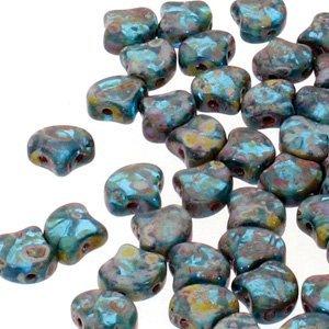 De Ginko glas kraal van Matubo heeft twee gaten en is te koop bij kralenwinkel Limited Edition in Den Haag in de kleur 60020/86805.