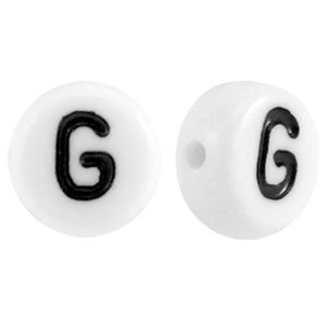 Deze wit zwarte acryl letter kralen zijn te koop bij kralenwinkel Limited Edition in Den Haag in de vorm van een g.