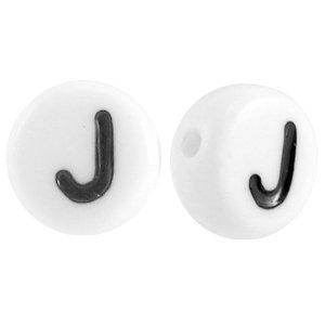 Deze wit zwarte acryl letter kralen zijn te koop bij kralenwinkel Limited Edition in Den Haag in de vorm van een j.