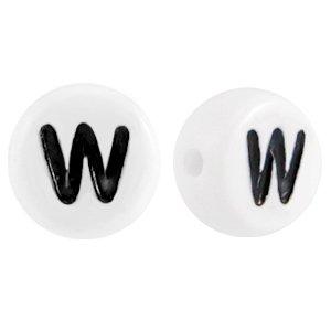 Deze wit zwarte acryl letter kralen zijn te koop bij kralenwinkel Limited Edition in Den Haag in de vorm van een w.