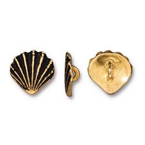 Deze Schelp Button van Tierra Cast is te koop bij kralenwinkel Limited Edition in Den Haag in de kleur antiek goud.