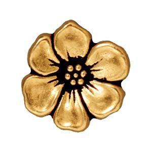Deze Apple Blossom Button van Tierra Cast is te koop bij kralenwinkel Limited Edition in Den Haag in de kleur antiek goud.