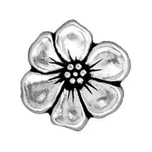 Deze Apple Blossom Button van Tierra Cast is te koop bij kralenwinkel Limited Edition in Den Haag in de kleur antiek zilver.