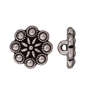 Deze Czech Rosette Button van Tierra Cast is te koop bij kralenwinkel Limited Edition in Den Haag in de kleur antiek zilver.